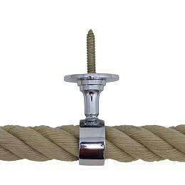 Seilhalter 40mm Messing verchromt mit Stockschraube