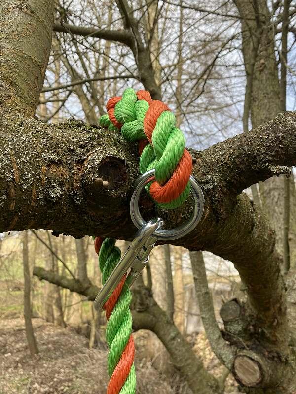 Tellerschaukel mit Ring und FwkH; 24mm PPM-Seil grün/orange